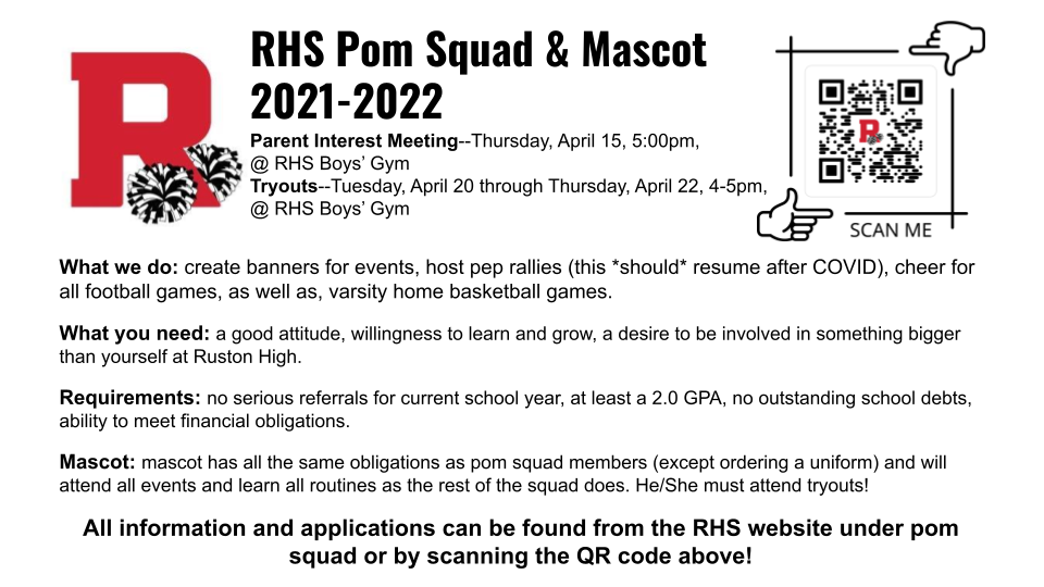 2021-22 Pom Squad and Mascot Application